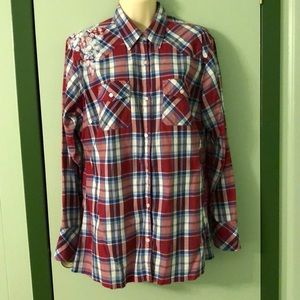 Disney Red Plaid Long sleeve Blouse